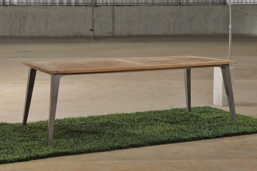 iron leg recycled teak dining table PFIT-12