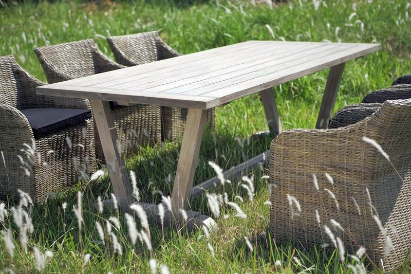 Indonesian Reclaimed Teak Garden Dining Table Manufacture
