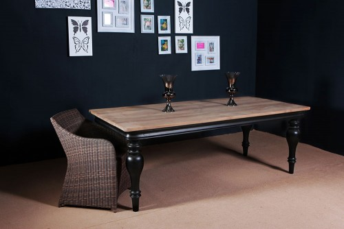 FSC Teak Furniture - Teak Dining Table Black Leg
