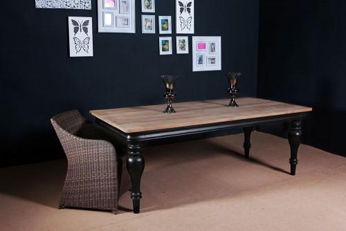 FSC Teak Furniture - Teak Dining Table Black Leg